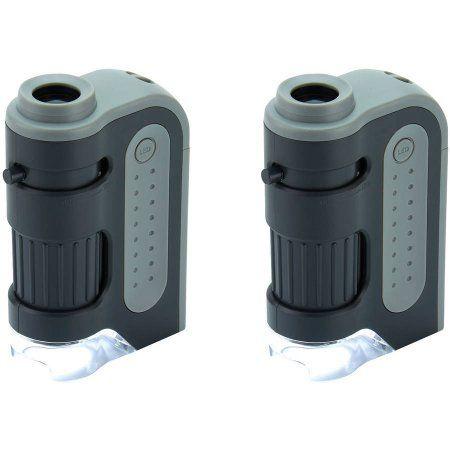 2pk Carson MM-300 Microbrite Plus 60x-120x LED Pocket Microscope, Black