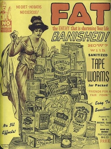 "worldwidefacts: "" TAPEWORM DIET In the 1950′s people started using tapeworms to lose weight. Since tapeworms are parasites, they believed that they would feed off what people ate and split the calories with the human. Unfortunately, this is not at..."