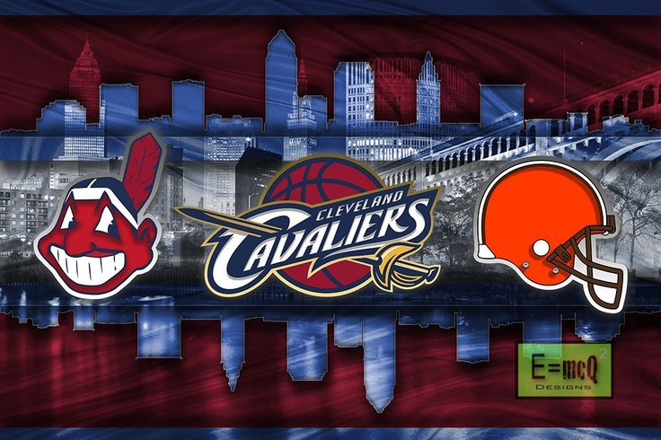 Cleveland Sports Teams Poster, Cleveland CAVALIERS, Cleveland INDIANS,                      – McQDesign
