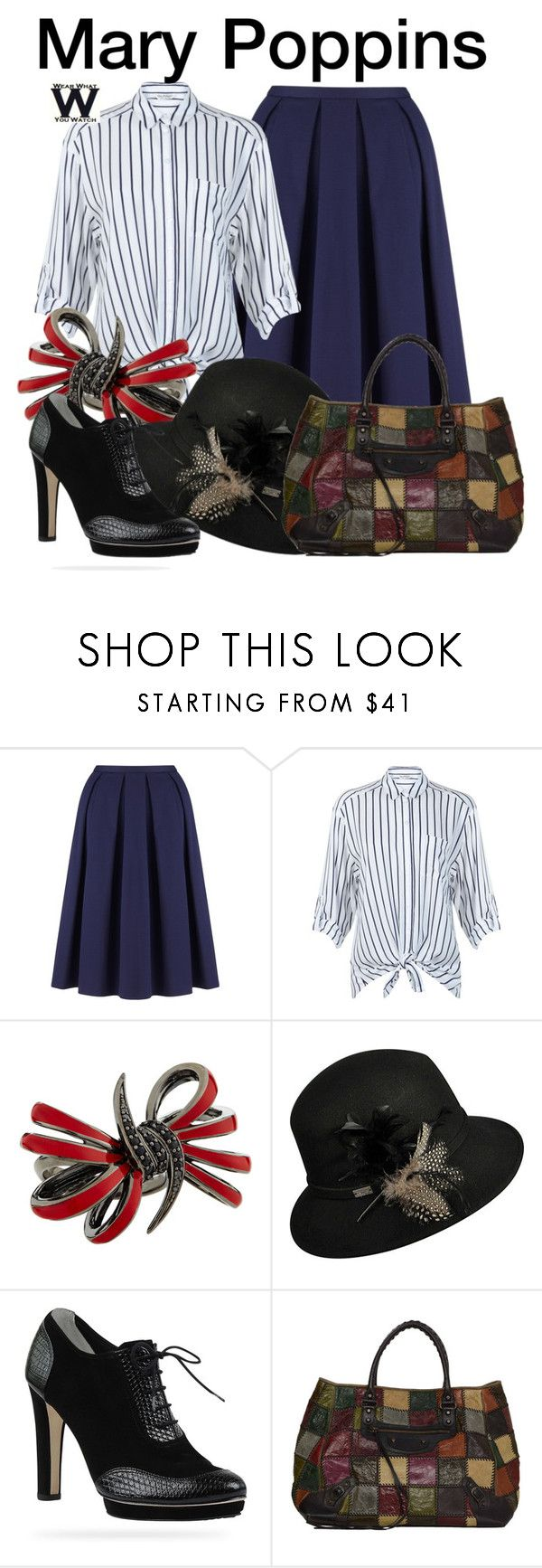 """Mary Poppins"" by wearwhatyouwatch ❤ liked on Polyvore featuring John Lewis, Miss Selfridge, Stephen Webster, Betmar, Oxford, Balenciaga, disney, wearwhatyouwatch and film"