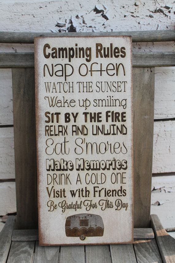 """nice RV Decor Camping rules Primitive Rustic Vintage Style laser engraved custom personalized 7""""x16"""" Typography Word Art Sign"""