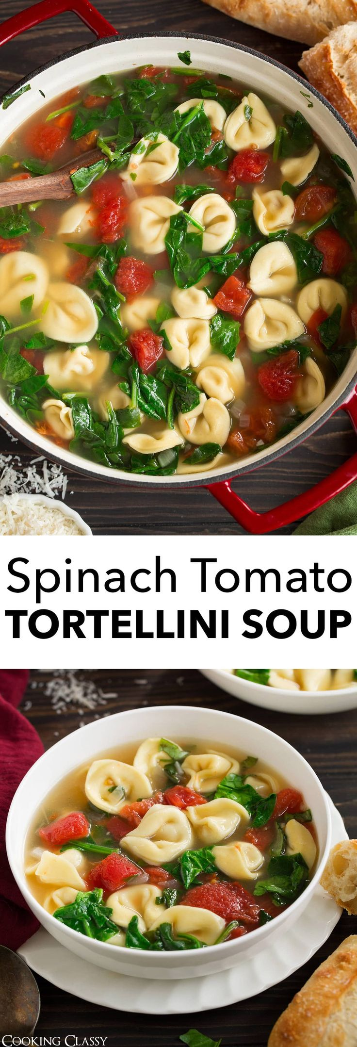 Fresh Spinach Tomato and Garlic Tortellini Soup via Jaclyn {Cooking Classy}