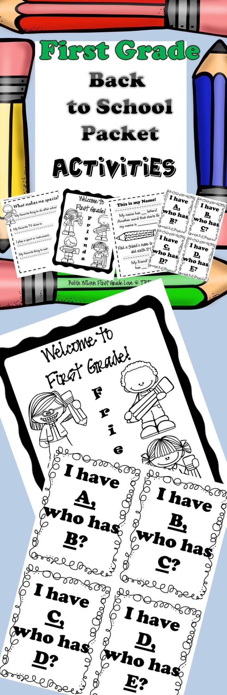 First Grade Back to School Activities perfect for the first day or first week of school! This packet includes fun games with their name, finding someone who..., I Have Who Has 123, and ABC, and more! These Back To School activities will be easy for you to grab and go!