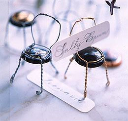 Champagne cage chair place card holder