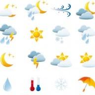 Free  Weather Icon Set vector Graphics  Expliquez en français le temps qu´il fait pour chaque image.