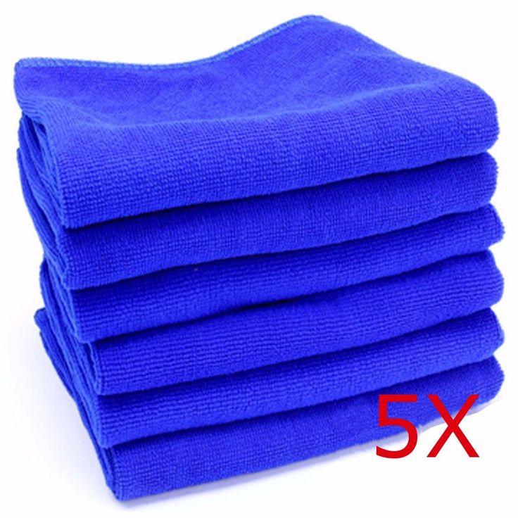 5 UNIDS 30 cm x 30 cm Auto Car Detailing Soft Paños de limpieza Toalla De Limpieza De Microfibra Plumero Azul