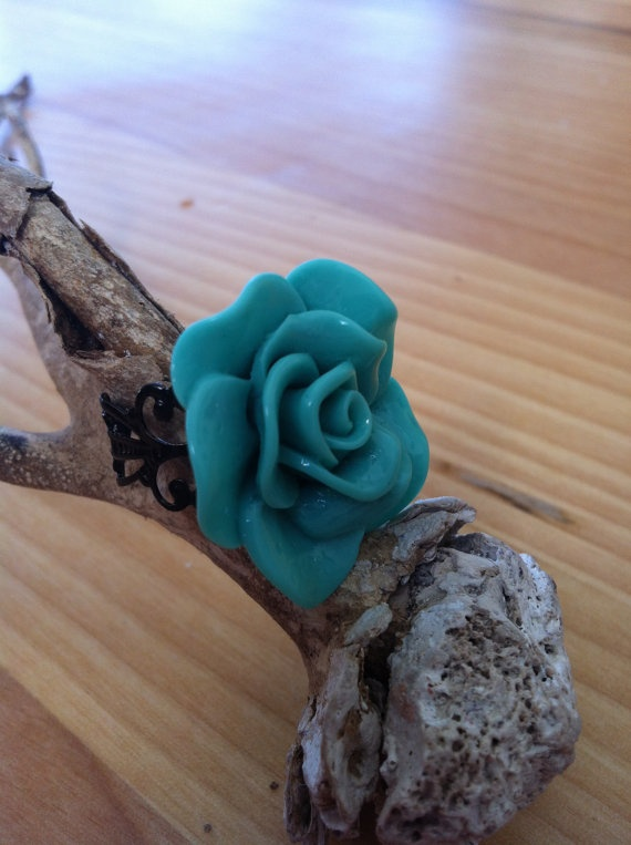 Teal acrylic rose ring by MadeWithLovebyGen on Etsy, $5.00