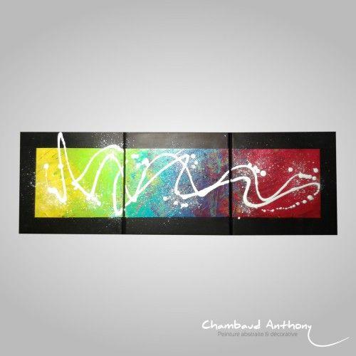 Triptyque aux nombreuses couleurs sur fond noir. Un tableau moderne aux couleurs éclatantes. Technique : Acrylique sur toile. Dimensions : 90 cm x 30 cm (30 x 30 sur trois toiles.)