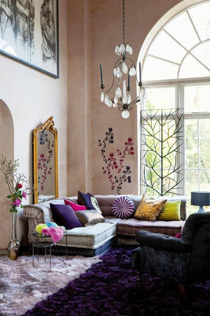 Living RoomStunning Bohemian Style Room Ideas With Assorted Color Furniture Spacious Design Unique Pendant Lamp Over
