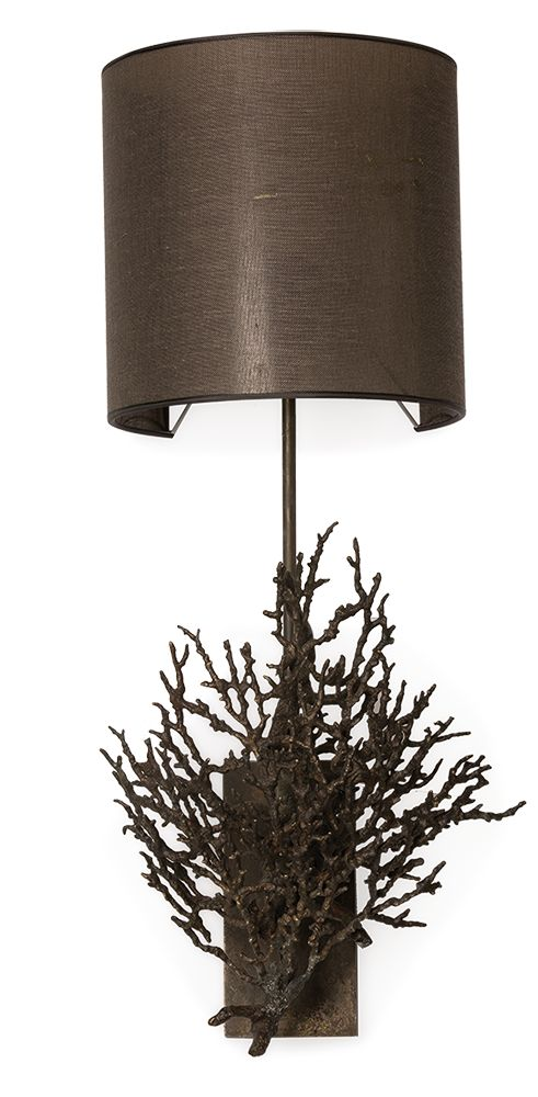Wall lamp, CORAL HANG, coral design in antique brass plating with shade. CRAVTAUCTION: Auction of Luxury Furniture and Interiors. If you are involved in the fields of interior design, property development, architecture or luxury furniture you can't afford to miss the Cravt Auction. Don't miss this unique opportunity to acquire Cravt luxury furnishings. The auction will take place between 16th -18th May 2017 - Visit http://cravtauction.com/ for details.