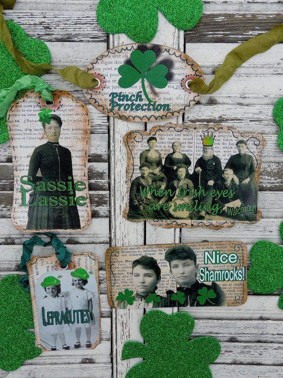 Patrick/'s Day Digital Collage Vintage Style TAGs Altered ART scrapBook cardMaking Shamrock Green St