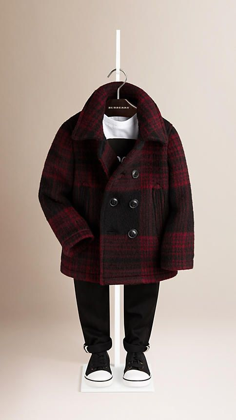 09b9fd135c24 Burberry Parade Red Check Wool Mohair Pea Coat - Check pea coat in a wool-mohair  blend. Double-breasted closure