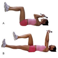 Total Body Bar Workout - Move #4:  Lying Triceps-Abs Combo:  Lie on your back with your knees bent 90 degrees. Hold the bar with a narrow grip, palms facing your body. Bend your elbows until the bar is just above your forehead, so palms now face the ceiling. Then press the bar up and extend your left leg to 6 inches off the floor. Lower the bar back toward your forehead and return legs to start, alternating for 12 total reps #fitness #bar #exercise