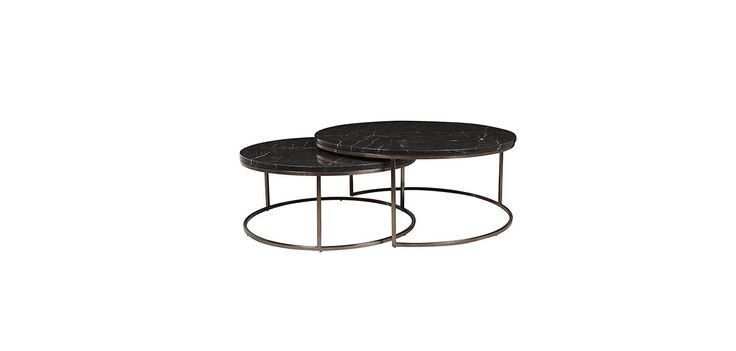 Contents International Design - Eliza Nesting Tables. With white marble and brass base