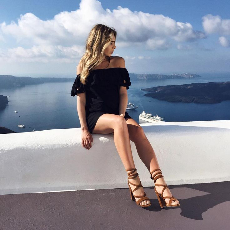 Nadia Bartel wears #seedheritage Jane Gladiator Heel and Cutwork Off Shoulder Dress (image via @nadiabartel)