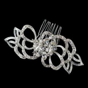 Antique Silver Clear Rhinestone Flower Comb.