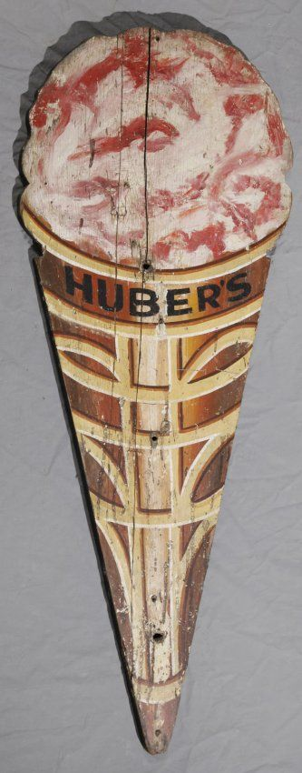 Carved and Polychromed Wood Huber's Ice Cream Sign, early 20th c., in the form of an ice cream cone, H.- 49 in., W.- 18 in., D.- 7/8 in.