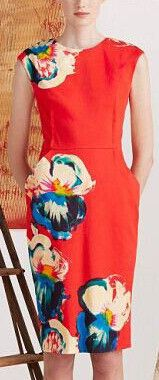 Floral Printed Sleeveless Dress in Red