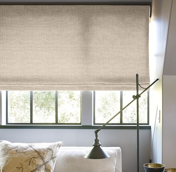 Flat roman shade textured belgian linen in sand for Linen shades window treatments
