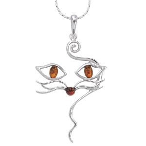 Genuine Amber and Sterling Silver Cat Pendant 24in - New Age & Spiritual Gifts at Pyramid Collection