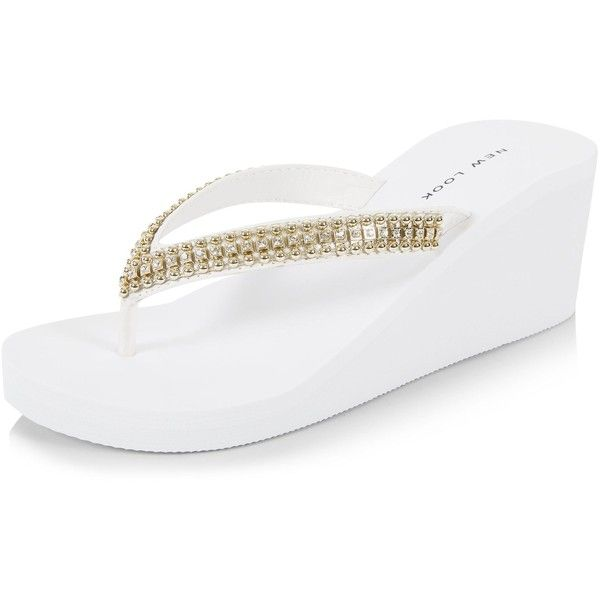 New Look White Diamante Wedge Flip Flops ($15) ❤ liked on Polyvore featuring shoes, sandals, flip flops, white, wedge flip flops, white shoes, strappy wedge sandals, slip on sandals and wedge heel sandals