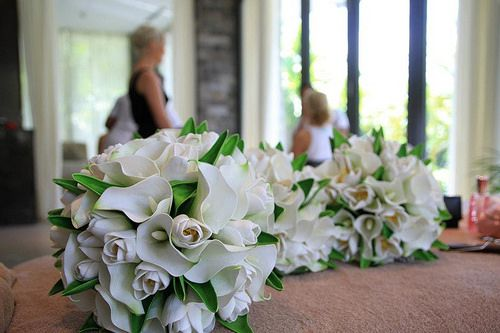 Real touch white calla lilies and tulips.