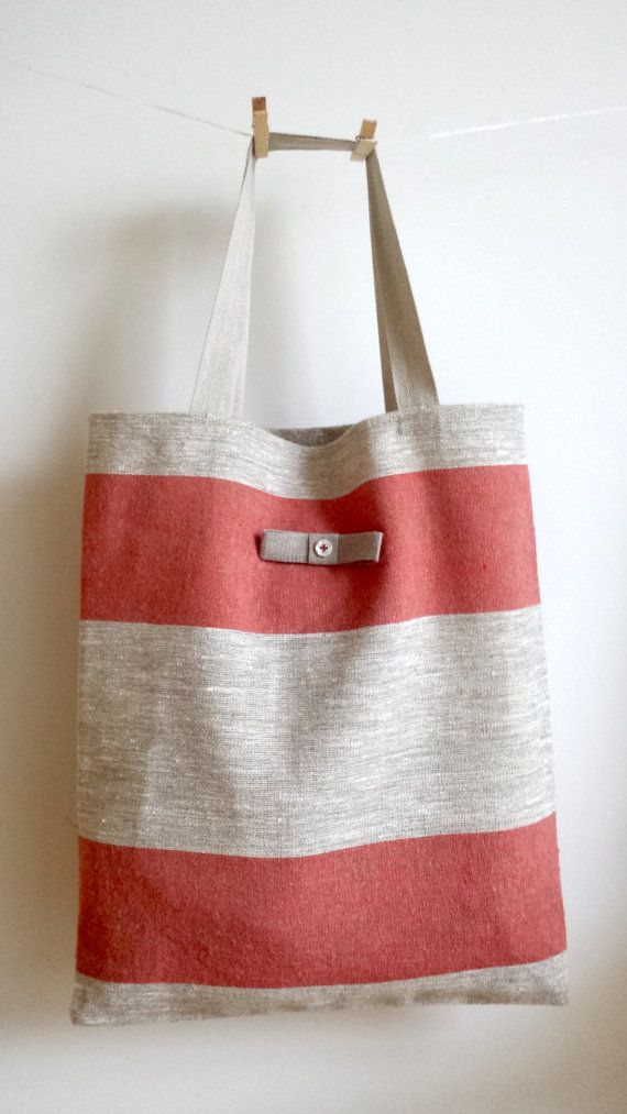 MOTHERS DAY GIFT. European linen tote bags with different patterns. Red tote bag. Shopping bag. Linen beach bag. Large bag. Summer bag.