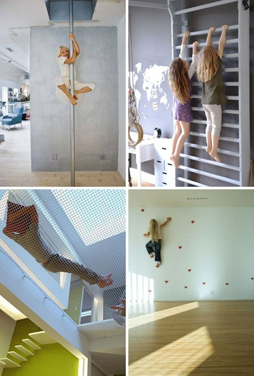 What a great set of ideas for making your home more kid-friendly! A rock wall, fire pole, climbing bars, and crash net will be sure to keep kids active. Barn friends... Cool right?