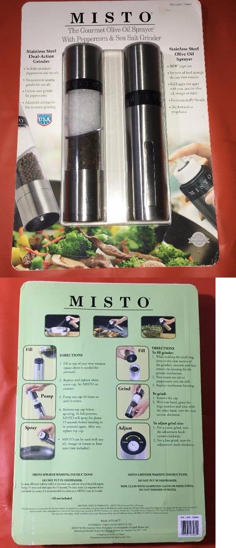 Oil and Vinegar Dispensers 54122: Nib Misto Gourmet Olive Oil Sprayer Set W Peppercorn Sea Salt Grinder Stainless -> BUY IT NOW ONLY: $40 on eBay!