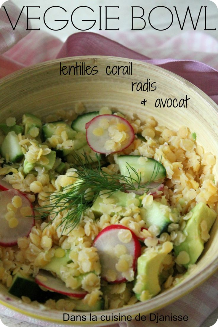 Veggie bowl aux lentilles Corail {recette végétalienne sans gluten}