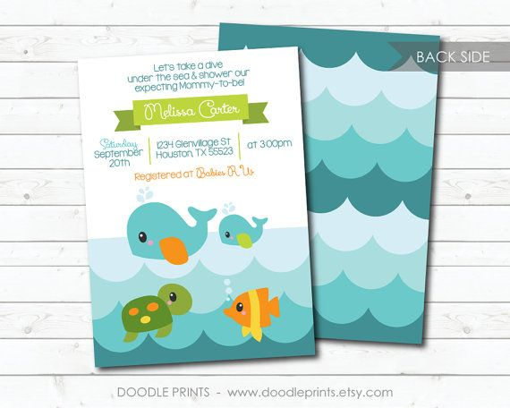 Ocean Invitation, Printable Baby Shower Invitation, Ocean Sea Creatures Baby Shower - Whale, Turtle, Fish - Birthday Party Invitation