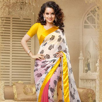 Off White and Old Rose Faux Georgette Saree with Blouse