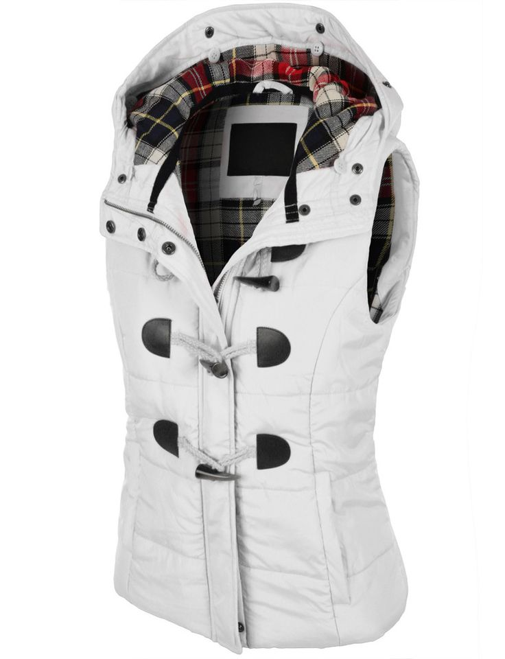 Womens Classic Toggle Padded Puffer Jacket Vest with Faux ...