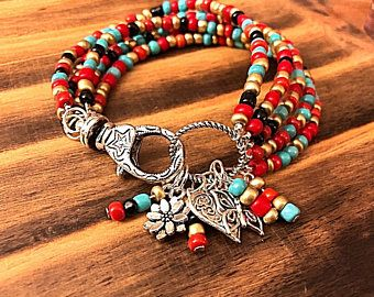 The funky hippie bohemian feel of the bracelet's, seed beads all combine for a perfect Gypsy Beaded Stackable Bracelet Set