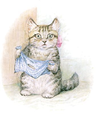Beatrix Potter: The Story of Miss Moppet - But she forgot about that hole in the duster.