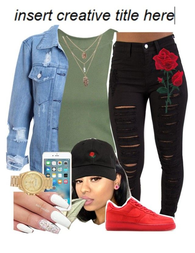 """""""Untitled #476"""" by darkskinn-awa ❤ liked on Polyvore featuring Boohoo, NIKE and Michael Kors"""