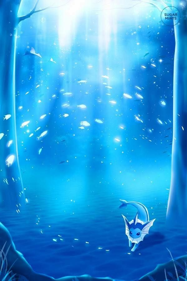Vaporeon dancing in the forest.