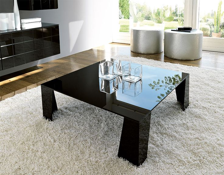 Modern Square Glass Coffee Table In Choice Of High Gloss White Or Black