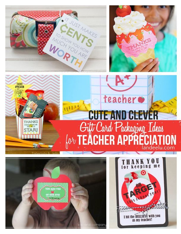 TEACHER Appreciation Week Ideas and Free Printables! Gift Card Holders for Teachers  | landeelu.com  Give teachers what they really want (gift cards) but package them up in a cute and clever way!  Lots of fun ideas here.