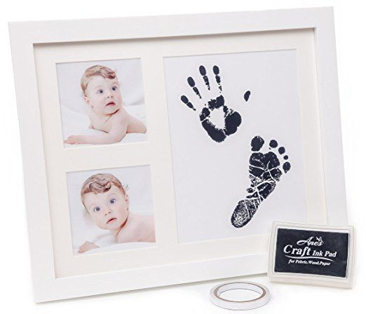 #afflink BABY HANDPRINT AND FOOTPRINT PHOTO FRAME KIT - Unisex Keepsake Frames for Babies + Baby Shower Wishes Card 2-4x6 Photo Folder, Unique Baby Gift For Registry by Anes