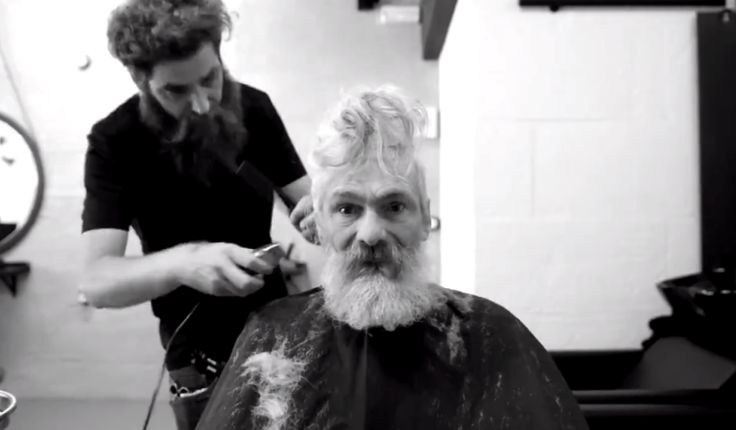 Homeless Man Breaks Down After Barber Gives Him A Haircut.