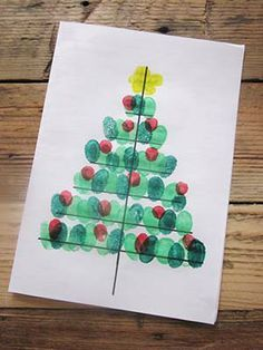 Carte Sapin de Noël Empreintes de doigts
