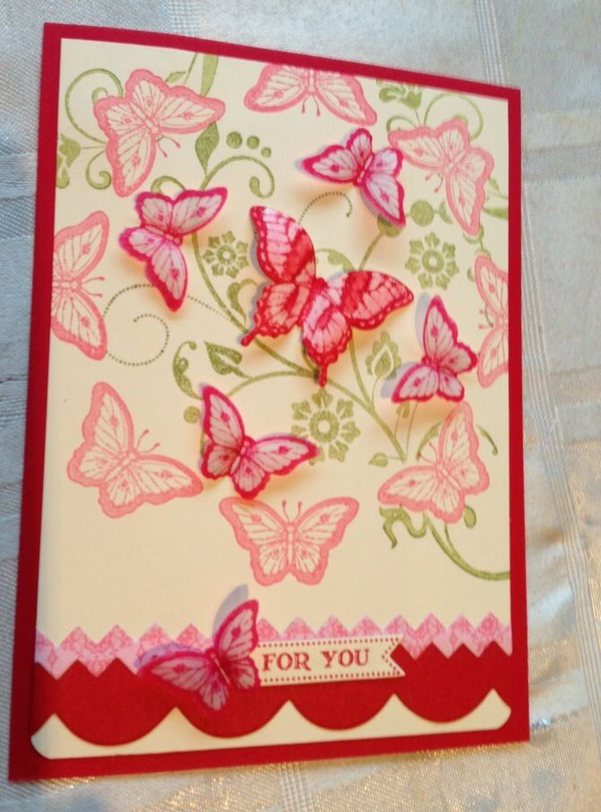 These butterflies look like they are going to fly right off the card.  Beautiful entry, Elaine Erskine: Cards Butterfly, Butterfly Cards, Cards Butterflies, Cardmaking, Card Making, Card Ideas