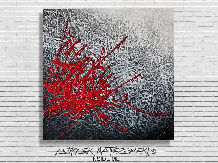 Tableau abstrait art moderne inside me rouge blanc et noir for Art moderne abstrait