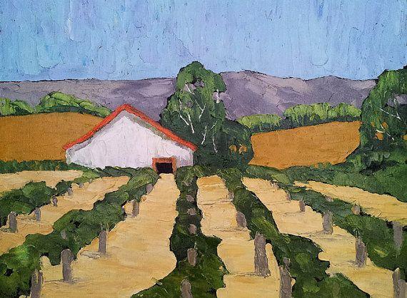 Vineyard Barn Oil Painting California Rustic Winery Farm