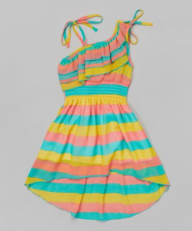 Look at this #zulilyfind! Teal Stripe Asymmetrical Dress - Toddler & Girls by Unik #zulilyfinds