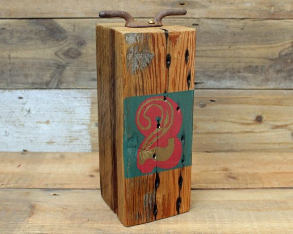 Number 2 Painted Salvaged Wooden Doorstop with circus style font by Reclaimed Time