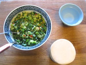 Afghan Dumplings with Spring Onion, Lamb and Yoghurt
