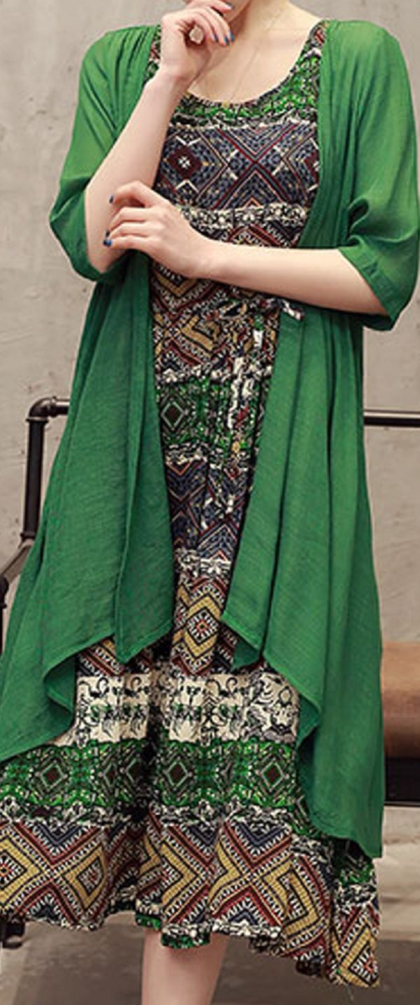 US$ 37.94  Bohemian O Neck Sleeveless Printed Dresses Two-piece Outfits