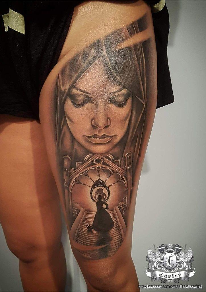 Snow White, Realistic tattoo, Black&Grey